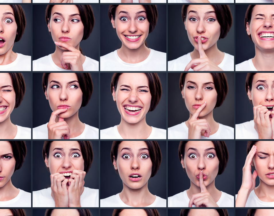 Lee Warren Business Communication and Sales Expert discusses Getting an emotional response in video calls. This photo shows a range of emotions.